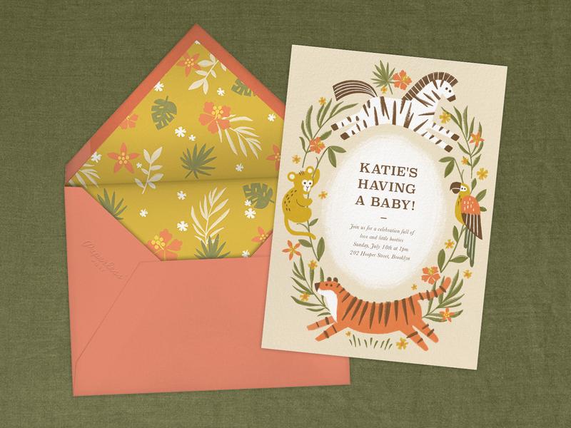 Jungle Fun Invitation invitation card jungle animals stationary illustration