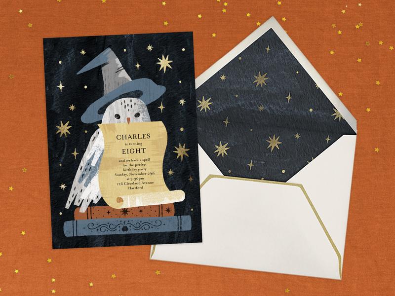 Birthday Magic stationery invitation card magic illustration wizard owl