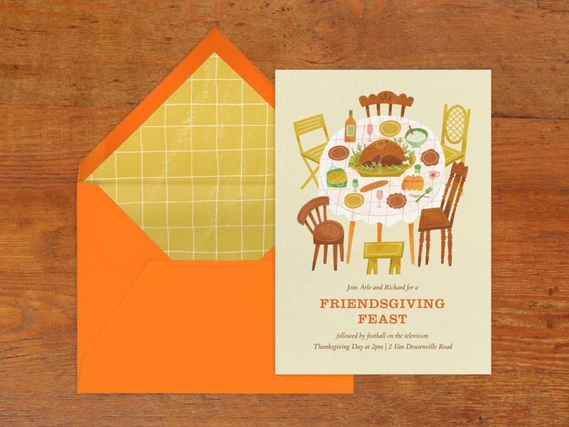 Dig In! chairs dinner table turkey invite card