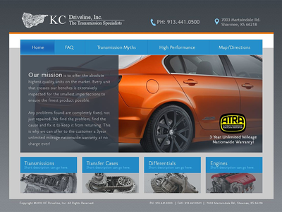 KC Driveline Inc. ui design