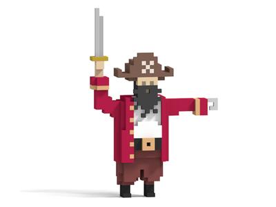 3D Pixel Pirate Captain 3d pixel magica voxel pirate