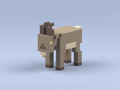Voxel Goat mountain voxel magicavoxel goat
