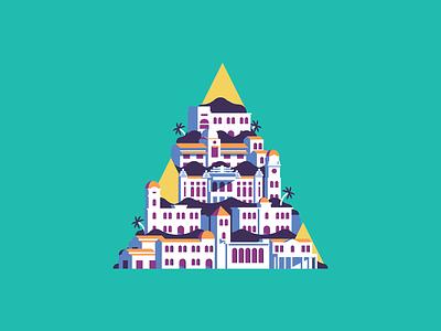 Yangon City illustration asia pagoda tree palm city colonial buildings yangon