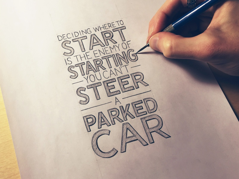 You Cant Steer A Parked Car lettering hand lettering typography