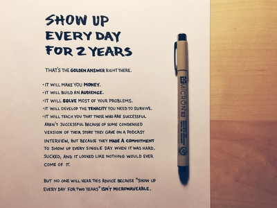 Show Up Every Day lettering hand lettering