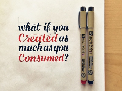 What if You Created as Much as You Consumed? typography hand lettering lettering