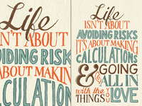 Life isn't about avoiding risks – colored