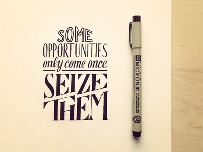 Some Opportunities Only Come Once – Seize Them lettering hand lettering typography opportunity quote holstee
