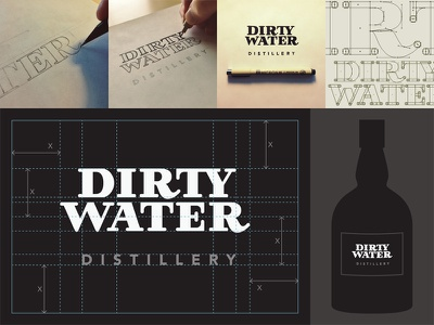 Dirty Water Distillery Logo lettering hand lettering typography logo distillery process bottle custom type