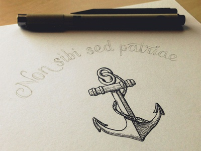 Anchors Aweigh! lettering hand lettering typography script navy anchor illustration