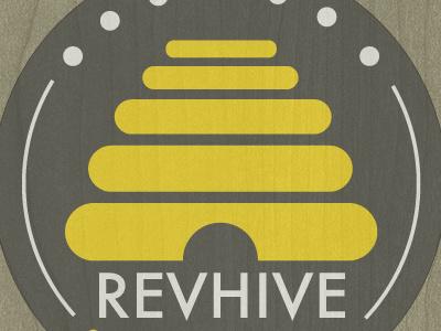 Revhive revhive logo brand coworking cowork co-op minimalist hive