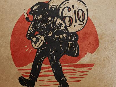 "6'10"" album design sketch 3 610 one man band folk music mandolin hobo"