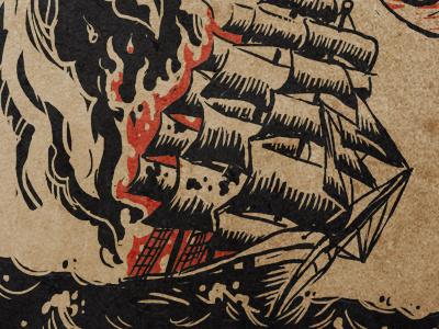 """6'10"""" album design sketch 4 610 clipper ship folk music fire"""