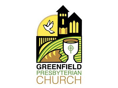 Greenfield Presbyterian Church logo grenfield presbyterian church logo design simple minimalist communion dove bridge