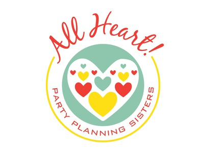 All Heart! logo design all heart party planning sisters logo design simple minimalism badge