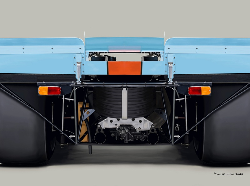 Porsche 917K in Gulf Oil Livery Digital Painting