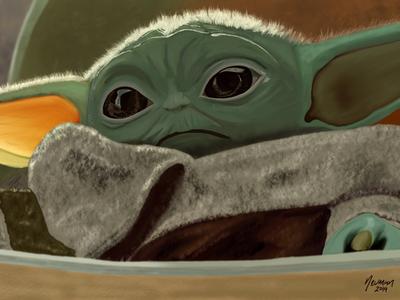 Baby Yoda digital painting
