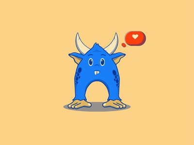 blue 💙 flat design icon illustrator branding cartoon logo monster illustration animation