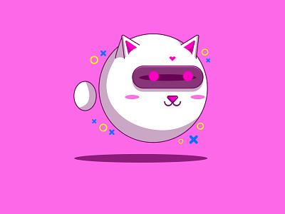 Cat Robot Design 🤖🐱 logo illustrator branding cartoon character monster cartoon robots illustration design animation cat robot