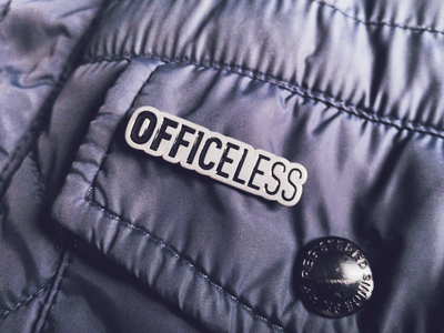 Official Officeless Pin branding type brazil lettering design remote working remote work officeless promotional design kit pin
