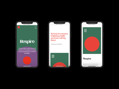Respire - Mobile Version 📱 landing page cards ui cards work ui brazil design