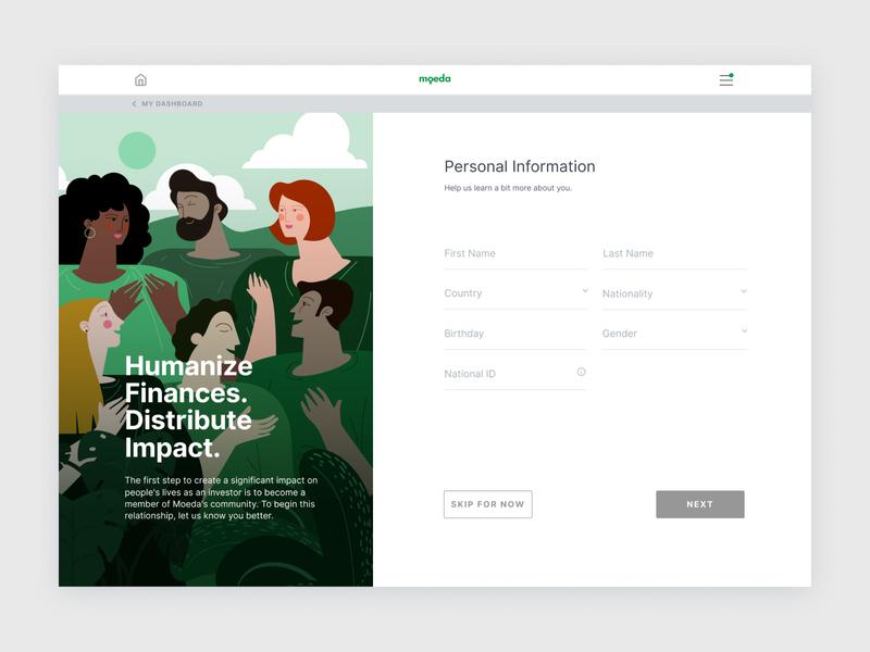 KYC Flow - Personal Information impact humanize finance grid desktop app illustracion ui design desktop web illustration