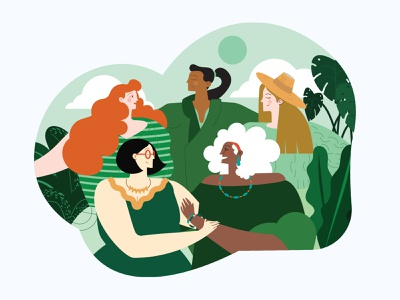 Moeda Women's Day Illustration gift reunion friends happy brazil illustration moeda womensday women womans day