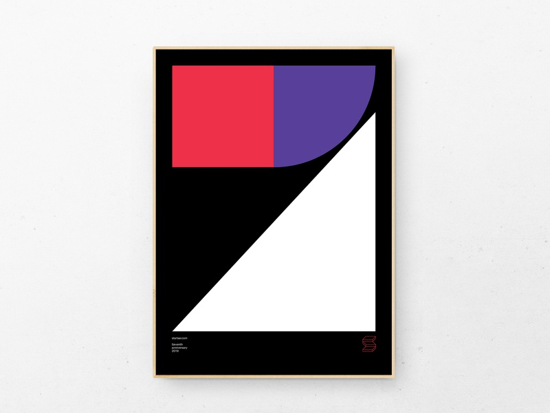 Startaê's 7th anniversary ⏤ 2019 design geometria colors shapes minimal illustration type poster