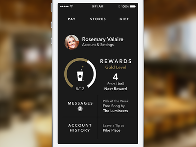 Dashboard for Starbucks 3.0 ios7 ios starbucks strike strikeux dashboard dial my starbucks rewards jesse herlitz