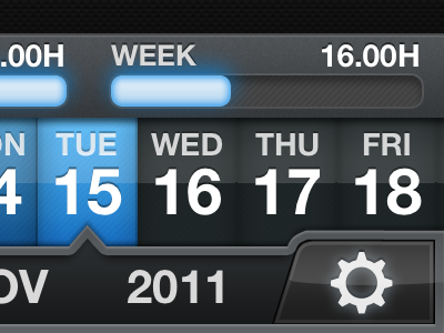 Cycles Date Picker iphone ios time tracking hours date blue glow