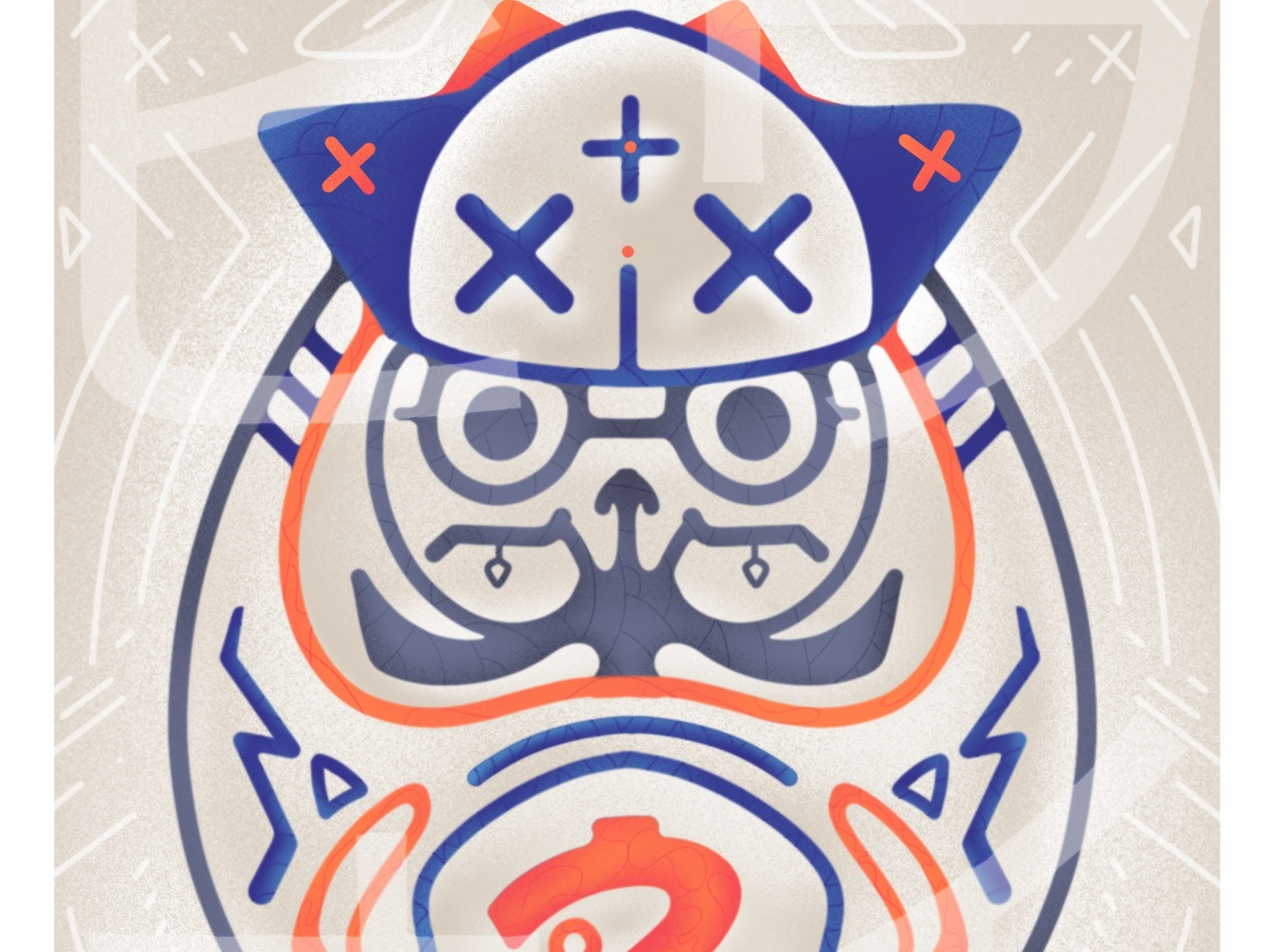 Daruma - Series 3/6 artsy graphic france montreal japan sketch vector flatdesign canada drawing illustrator artwork illustration graphicdesign motion design animation digitalart art