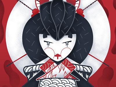 Geisha 1/3 - Full illu on my instagram @Bewoy illustrator canada japan montreal france posca sketch drawing flatdesign artwork motion graphicdesign illustration graphic design animation artsy digitalart art