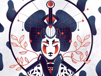 Geisha 2/3 - Full illu on my instagram @Bewoy vector sketch france motion illustrator japan montreal canada flatdesign drawing illustration artwork graphic graphicdesign design animation artsy digitalart art