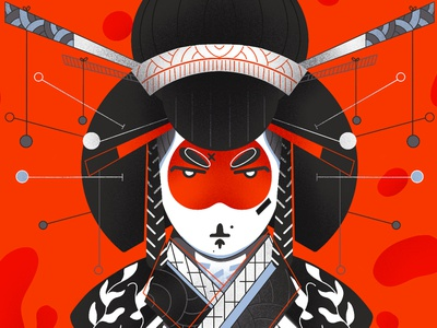 Geisha 3/3 - Full illu on my instagram @Bewoy vector posca france sketch japan montreal flatdesign drawing canada illustrator artwork illustration graphic graphicdesign motion design animation artsy digitalart art