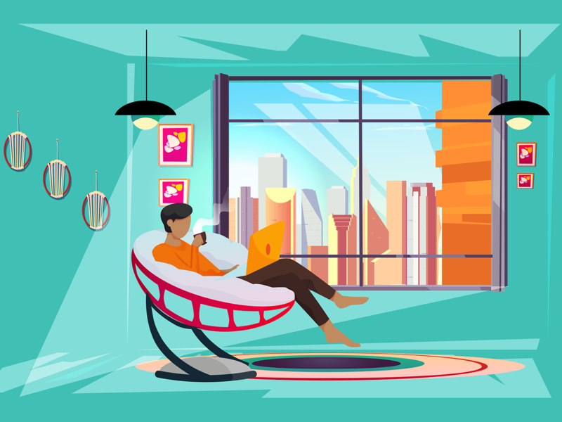 Productive and Cozy illustration vector development chilling coffee enjoying programming relax laptop freelance stay home work comfortable cozy productive