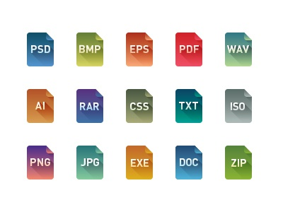File Type Icon Set icons icon file flat color psd ai eps png jpg