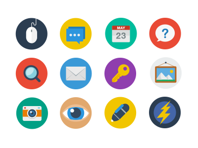 Flat Icon Set Released icons icon file flat color psd ai eps png jpg