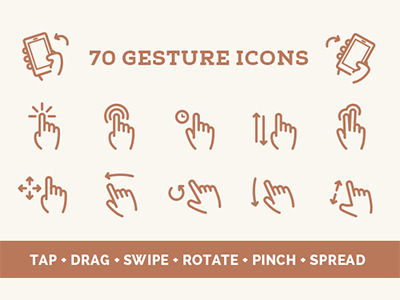Gesture Vector Icon Set gesture icons vector hands tap drag swipe rotate pinch spread