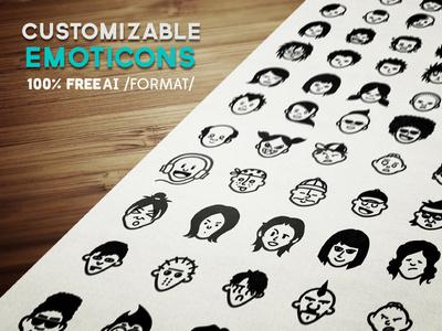 Avatars & Emoticons Vector Set vector ai eps icons icon emoticons emoticon face human avatar psddd