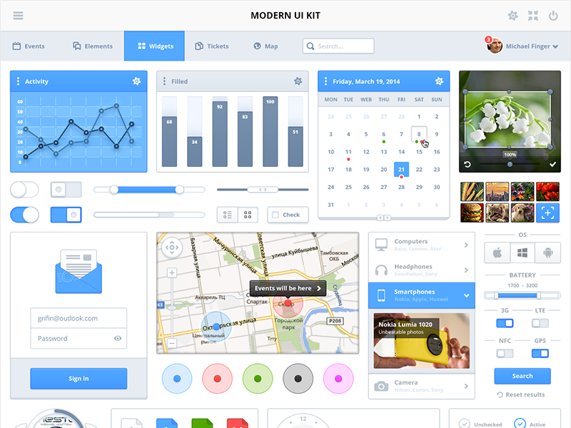 Modern UI Kit ui psddd kit uikit free download psd