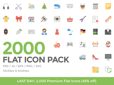 LAST DAY: 2,000 Premium Flat Icons (46% off) icons icon design psd png vector flat eps svg