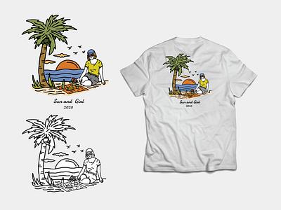 Sun and Girl skatch sale tshirt ui garage illustration drawing artist digital design color brand clothing artwork