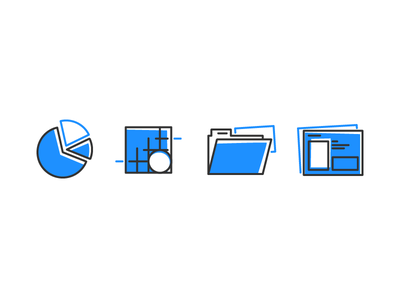 Digtial Transformation Icons vector template performance icons grid folder file chart blue