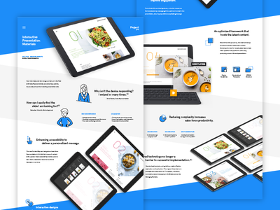 Project Showcase Design scroll one page stripes white icons ui design tablet blue corporate presentation case study