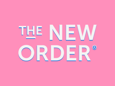 The New Order Branding geometric type branding logo contrast blue pink