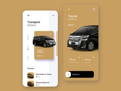 Limo Hire App Concept limo car rental transport ui development mobile app gold
