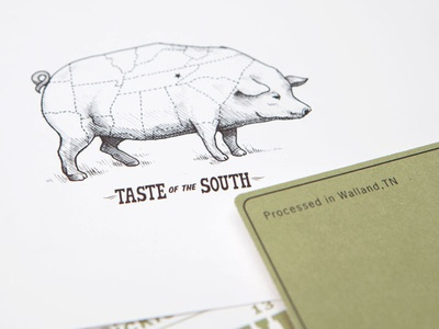 Southern Foodways Alliance ink pig farm blackberry food invite vintage