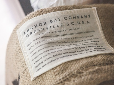 Anchor Bat Co. Packaging baseball bat bag greenville stamp burlap bat baseball anchor