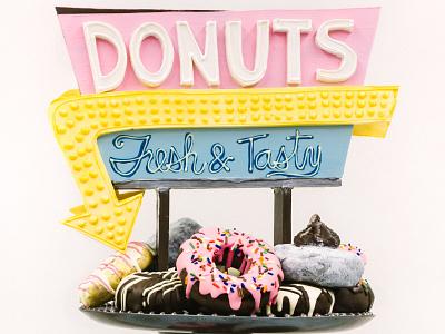 Chocolate Donut Shop Sculpture donuts diner retro hand lettering 3d illustration sculpture chocolate