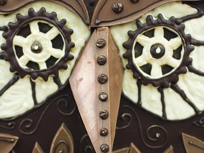 Chocolate Steampunk Owl sculpture 3d illustration owl robot steampunk chocolate